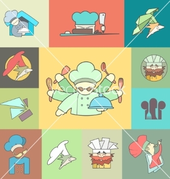 Free restaurant chef flat logo or icon set vector - vector gratuit #235107