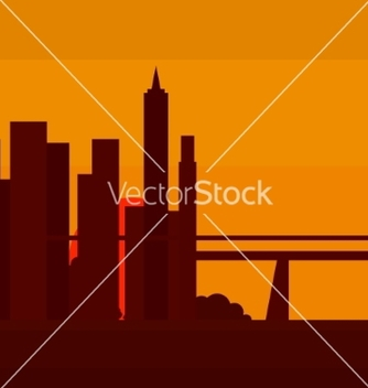 Free sunset in new york into a flat vector - Kostenloses vector #235177