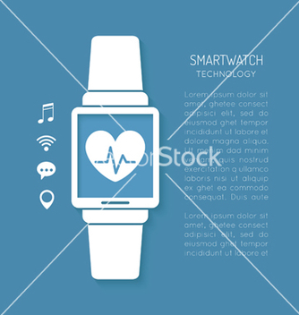 Free wearable technology symbol with heartbeat tracker vector - Kostenloses vector #235367
