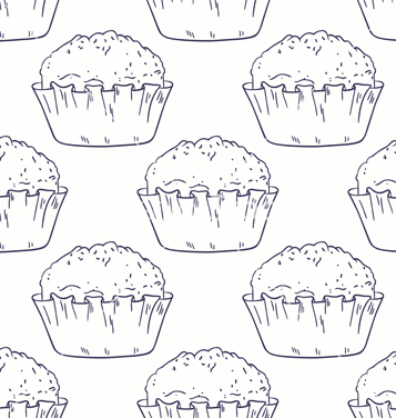 Free outline seamless background with muffins vector - Free vector #235497