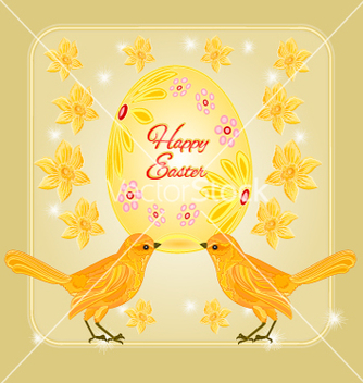 Free gold birds and easter eggs place for text vector - vector gratuit #235637