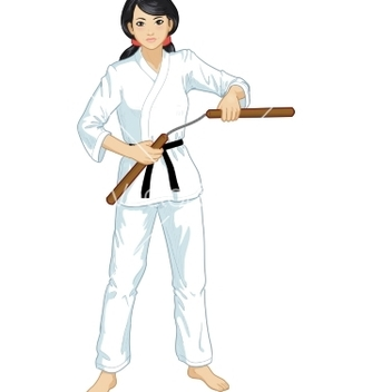 Free asian nunchuck girl in karategi vector - Free vector #235717