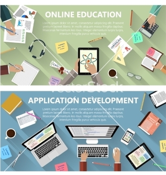 Free online education and app development concept vector - vector gratuit #235997