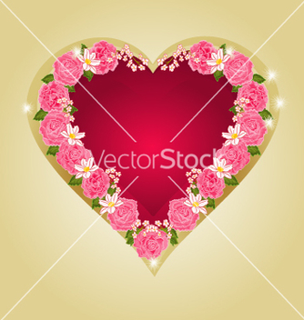 Free red heart with pink roses vector - vector gratuit #236267