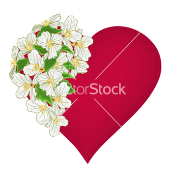 Free valentines day red heart with white flowers vector - Free vector #236337
