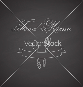 Free chalkboard label with fork spoon and ribbon vector - vector gratuit #236377