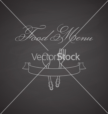 Free chalkboard label with fork spoon and ribbon vector - Free vector #236377