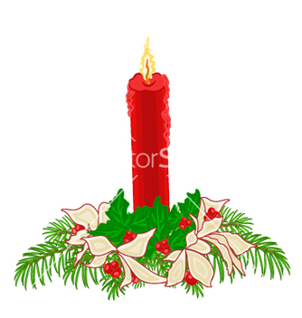 Free christmas red candle with boughs of holly vector - Kostenloses vector #236427