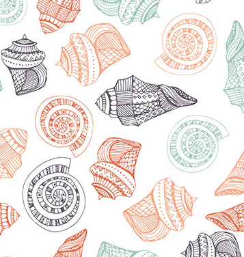Free seashell seamless pattern vector - Free vector #236467