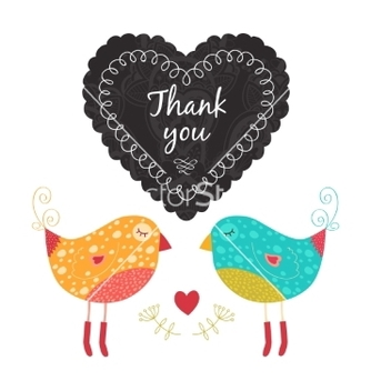 Free thank you card with birds vector - vector gratuit #236587