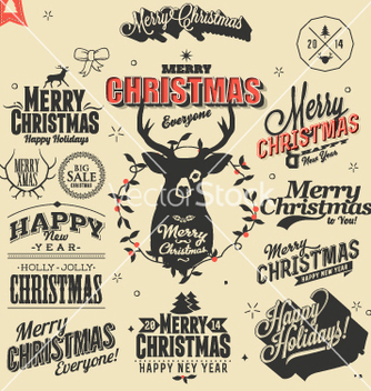 Free merry christmas sign and symbols decoration vector - Free vector #236597