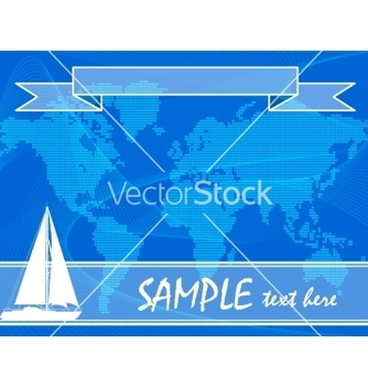 Free blue travel background with yacht vector - vector gratuit #236617