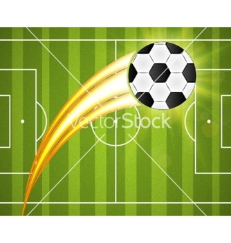 Free soccer ball on green background poster design with vector - Free vector #237287