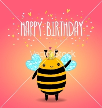 Free happy birthday card background with a bee vector - vector gratuit #237587