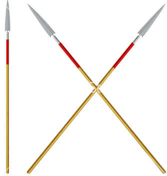 Free crossed spears with red ribbon on a shaft vector - Free vector #237607