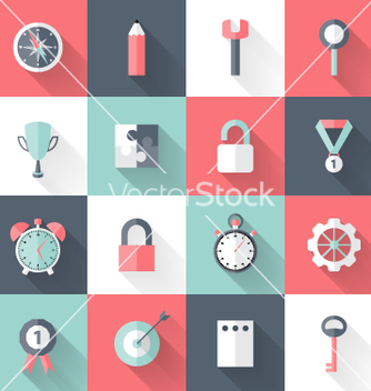 Free business flat icons set long shadows vector - vector #237647 gratis