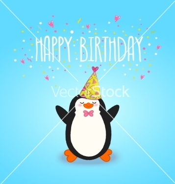 Free happy birthday card background with cute penguin vector - Kostenloses vector #237867