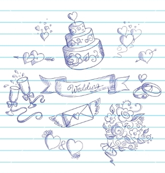 Free sketch of wedding design elements vector - Free vector #237967