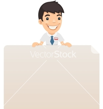 Free manager looking at blank poster on top vector - Kostenloses vector #238047