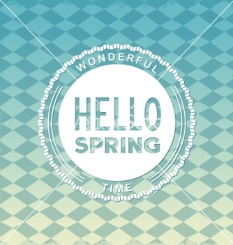 Free hello spring retro label vector - Free vector #238357
