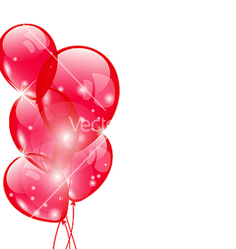 Free flying red balloons isolated on white background vector - Free vector #238407