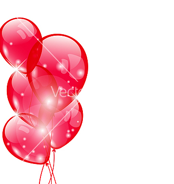 Free flying red balloons isolated on white background vector - Kostenloses vector #238407