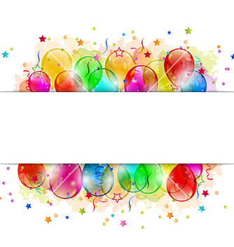 Free set party balloons confetti with space for text vector - vector gratuit #238747