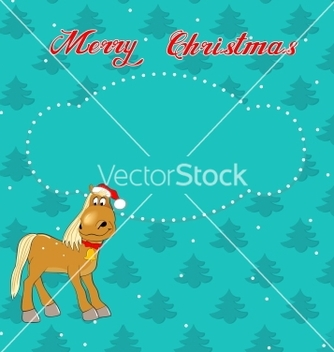 Free christmas card with horse vector - Free vector #239117