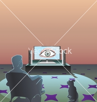 Free man watching tv vector - Kostenloses vector #239817