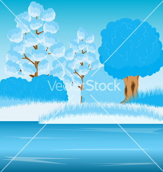 Free river in winter vector - vector gratuit #240427