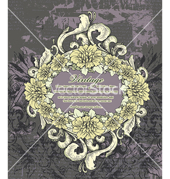 Free vintage frame with floral vector - Free vector #240987