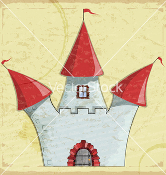 Free vintage card with a picture of an old castle vector - vector gratuit #241187