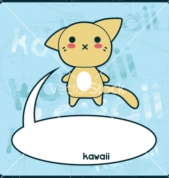 Free kawaii card with cute cat on the grunge background vector - vector gratuit #241627