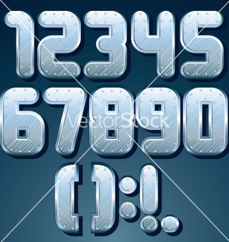 Free metallic font set of shiny silver numbers vector - Free vector #241647