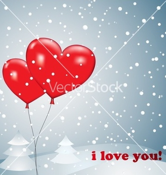 Free balloons heart with snow vector - vector gratuit #242317