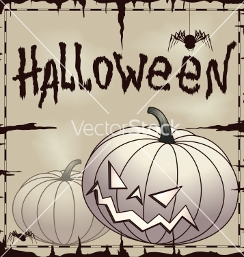 Free halloween card wtih pumpkin over old paper vector - vector gratuit #242697