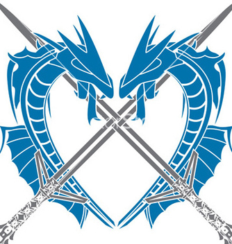 Free heart of dragons vector - vector gratuit #242727