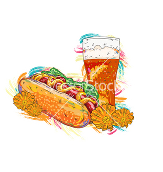 Free hot dog with colorful splashes vector - Kostenloses vector #243177