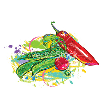 Free vegetables with colorful splashes vector - Kostenloses vector #243317