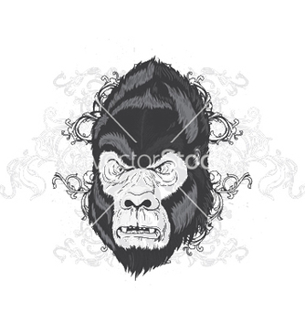 Free vintage tshirt design with gorilla head vector - Free vector #243907