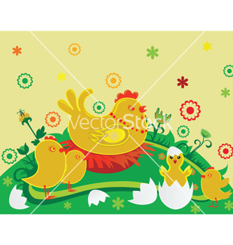 Free easter background with chickens vector - vector #243937 gratis