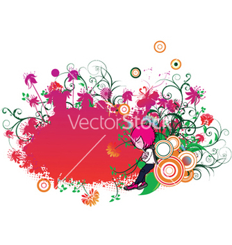 Free floral frame with emo kid vector - vector #244717 gratis