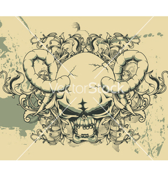 Free grunge floral and skull vector - Kostenloses vector #245167