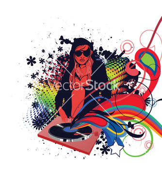 Free dj girl with floral vector - Free vector #245507