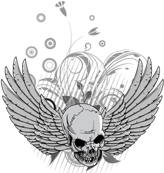 Free floral with skull and wings vector - vector gratuit #245977