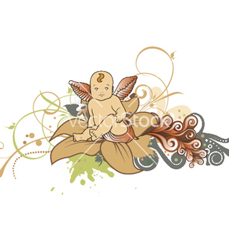 Free angel with floral vector - Kostenloses vector #246017