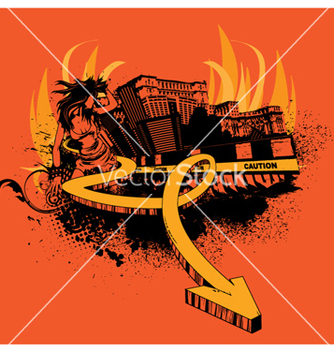 Free urban poster with 3d arrow and girl vector - Free vector #246397