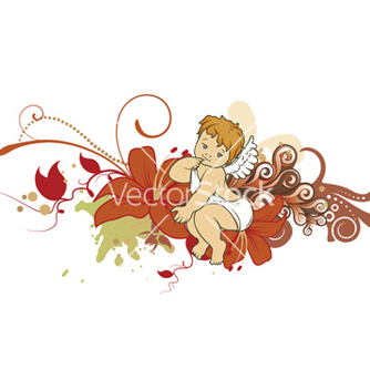 Free angel with floral vector - vector gratuit #247227