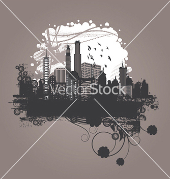 Free vintage city background with floral vector - Free vector #247417
