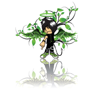 Free emo kid with floral vector - vector #248677 gratis
